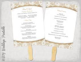 paddle fan program template wedding program fan template rustic burlap lace