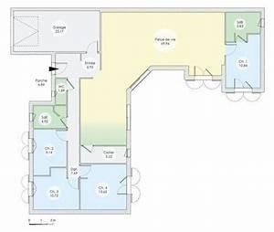 plan maison maison de plain pied de quatre chambres With superb faire plan de sa maison 4 maison lumineuse et spacieuse detail du plan de maison