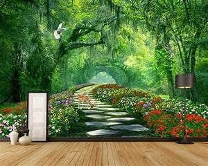 Beibehang Custom wallpaper forest park shade road 3d ...