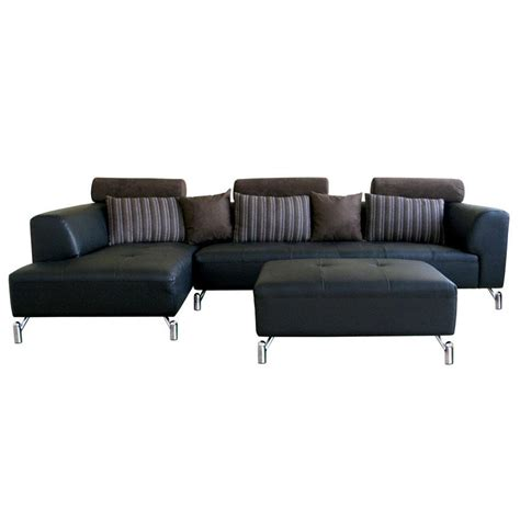 black leather sectional with ottoman black modern sofa smalltowndjs com