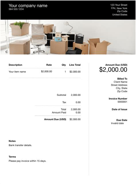 moving company invoice template