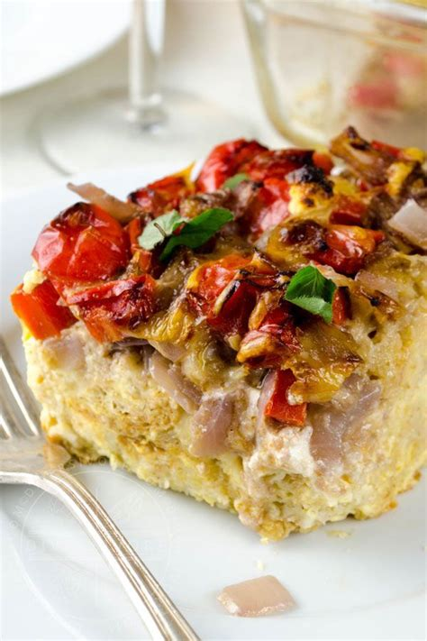 goat cheese strata with peppers onions recipe in 2020