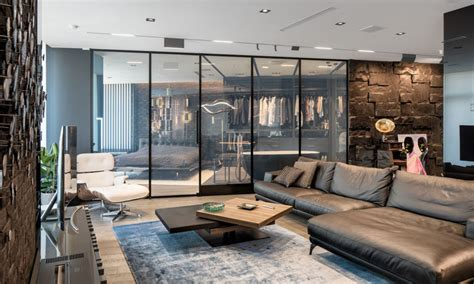 modern  masculine apartment   smart glass wall