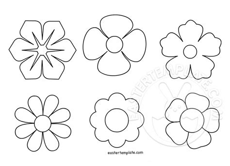 spring flowers shape easter template