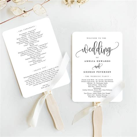 lovely calligraphy wedding program fan template lcc
