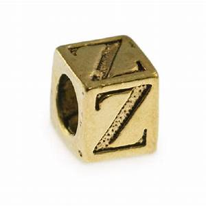 alphabet bead 5mm z pewter antique gold plated large With pewter letter beads