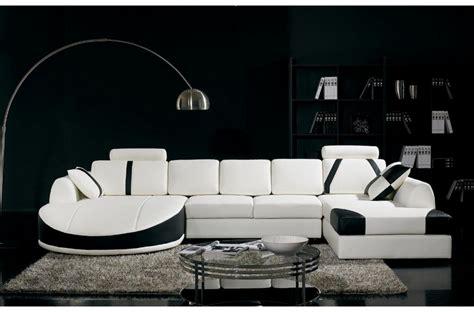 canaper noir et blanc canapé d 39 angle en cuir italien 7 8 places naples blanc et