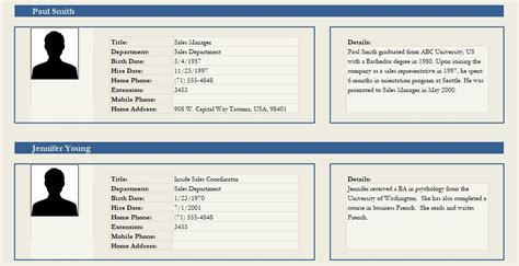 professional employee profile template excel  word
