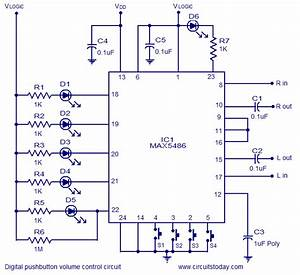 Digital Volume Control Circuit Using Max5486  2 Channels
