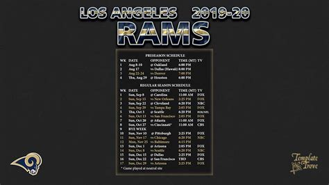 los angeles rams wallpaper schedule