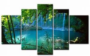 Leinwand 5 Teilig : wasserfall leinwand 5 bilder bergsee wald m50123 xxl die leinwandfabrik ~ Whattoseeinmadrid.com Haus und Dekorationen