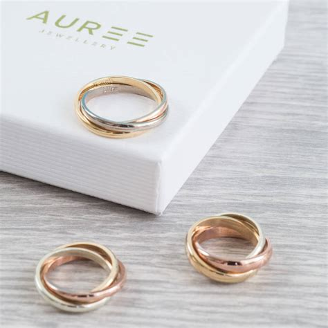 solid three colour gold russian wedding ring by auree