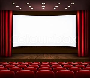 Cinema with white screen, curtain and seats. Vector ...