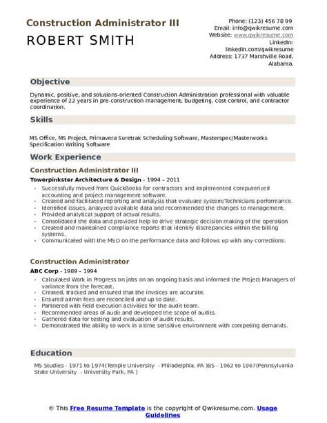 Employment Resume by Construction Administrator Resume Sles Qwikresume
