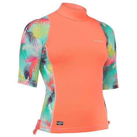 tee shirt anti uv surf top  manches courtes fille olaian decathlon