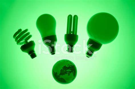 four types of energy saving light bulbs stock photos