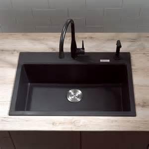 black composite granite kitchen sink interior exterior