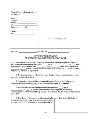 georgia notice of commencement form fillable online florida notice of termination of notice of