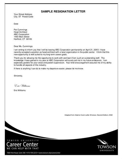 Example of a professional letter of resignation