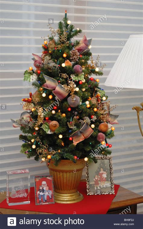 small elegantly decorated christmas tree sits atop