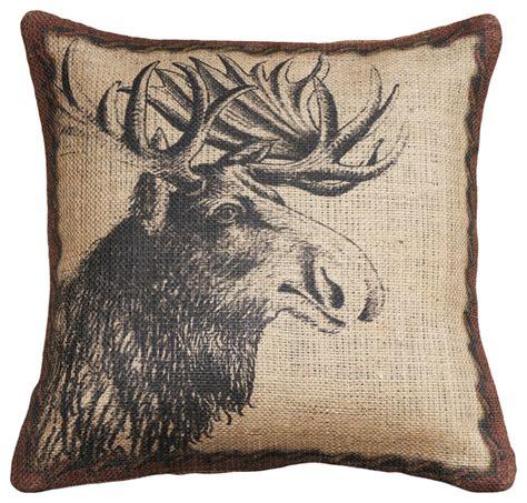 rustic throw pillows moose burlap pillow rustic decorative pillows by