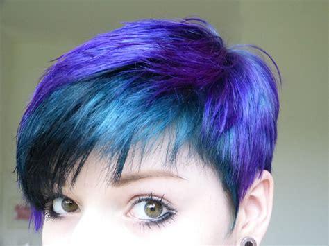 Short Pixie Blue And Purple Hair Haircut Hairstyle The