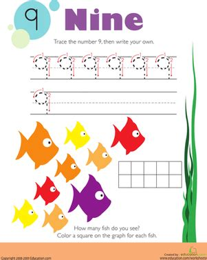 tracing numbers counting  worksheet educationcom