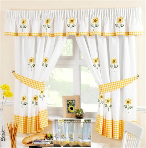 d馮lacer en cuisine sunflower yellow white voile cafe curtain panel kitchen curtains ebay