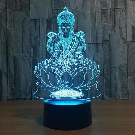 lotus buddha  optical illusion led lamp hologram