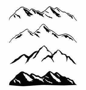 Drawn mountain vector - Pencil and in color drawn mountain ...