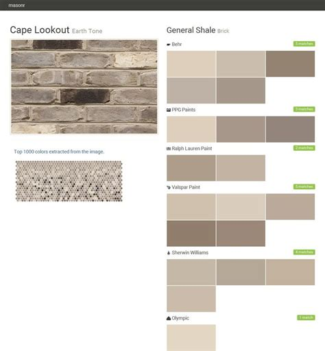 cape lookout earth tone brick general shale behr ppg