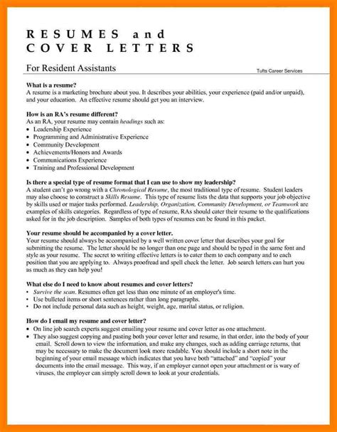4 resident assistant resume exle appeal leter