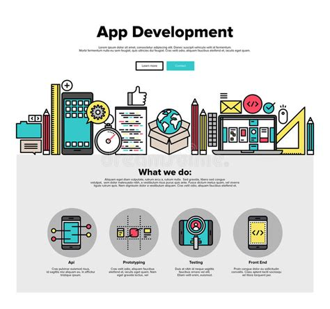 mobile web developer app development flat line web graphics stock vector