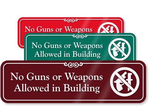 No Guns Or Weapons Allowed Sign