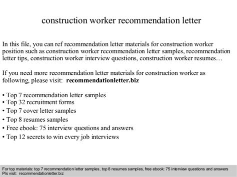 Letter Construction Worker by Construction Worker Recommendation Letter