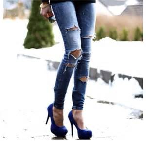 Ripped Jeans with Heels