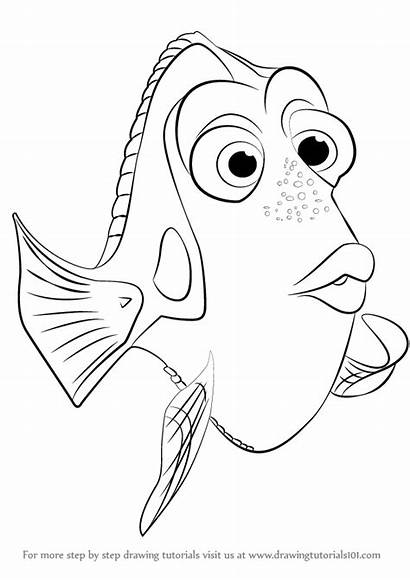 Dory Finding Draw Coloring Drawing Step Nemo