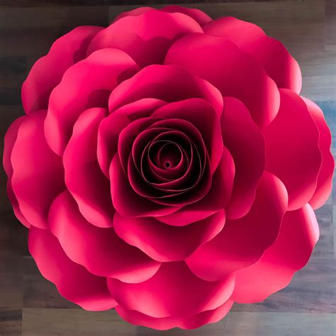 xl rose paper flower templates  rose bub center