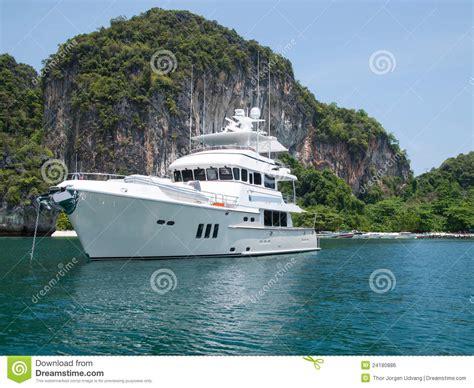 Luxury Yacht At Tropical Island Stock Photo