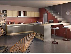 La cuisine couleur taupe on l39adore peinture rouge for Deco cuisine avec buffet chene clair