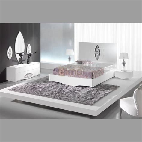 meuble chambre blanc laqué chambre adulte complète moderne laque blanc et argent artic