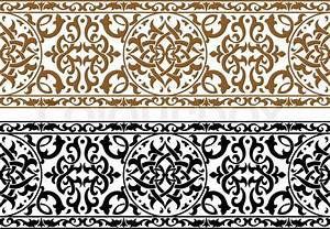 Abstract arabic ornament in two colors for design and