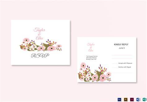 floral wedding rsvp card design template  illustrator