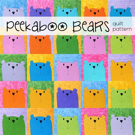 applique patterns peekaboo bears applique quilt pattern shiny happy world