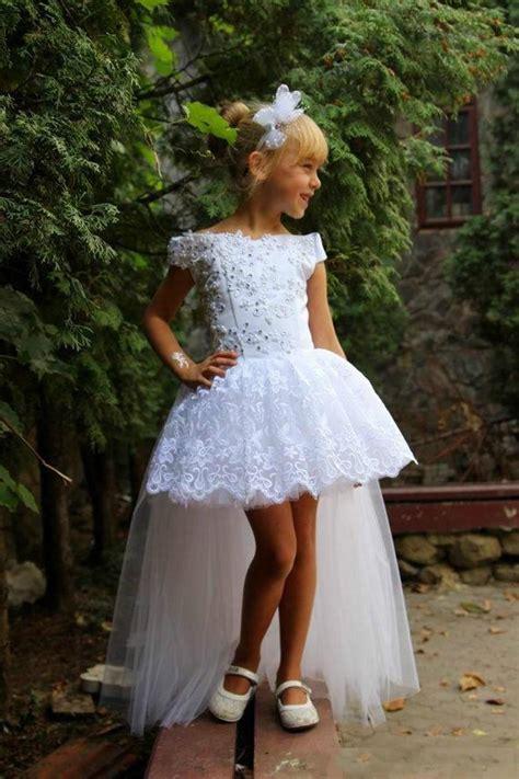 12760 Low Shoulder Flower Dress white lace high low flower dresses 2016 applique