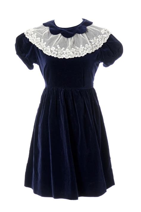 vintage celeste  childs dress blue velvet  lace