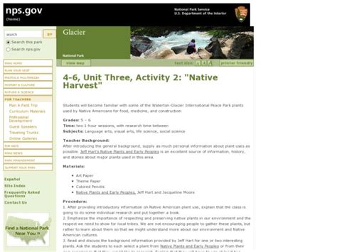 Native Harvest Lesson Plan For 5th
