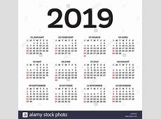 Calendar 2019 Isolated on White Background Week starts