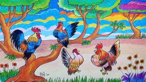 ayam cara menggambar yang mudah untuk anak tk