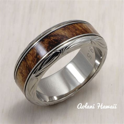 titanium ring  hawaiian koa wood inlay mm width